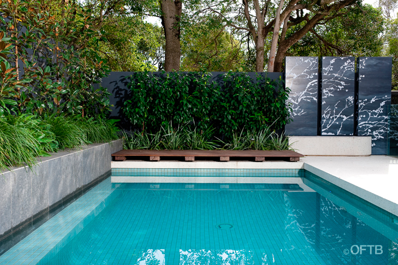 Oftb melbourne landscaping pool design construction for Gardens around pools