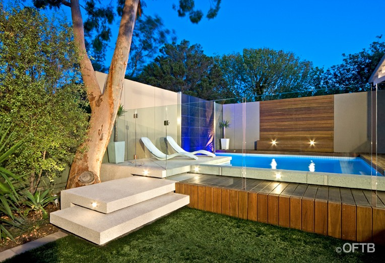 Oftb melbourne landscaping pool design construction project plunge pool water feature wall - Barriere designpool ...